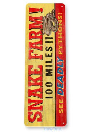 tin sign b695 snake farm rustic pythons pit farm sign zoo farm tinworld tinsign_com