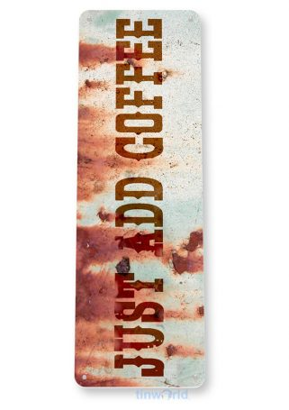 tin sign b832 just add coffee rustic retro coffee shop sign kitchen cottage cafe farmc tinworld tinsign_com