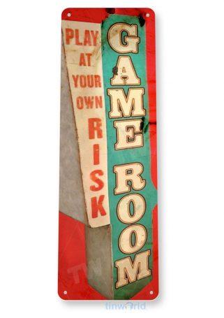 tin sign b875 gameroom rustic retro arcade game play room cottage cave tinworld tinsign_com