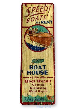 tin sign b907 speed boats rustic repair shop sign beach house marina cave tinworld tinsign_com