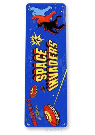tin sign c502 space invaders arcade game room shop marquee sign retro console tinworld tinsign_com