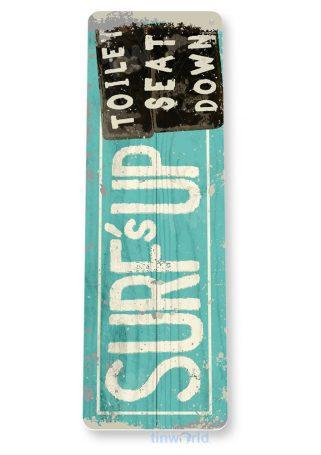 tin sign c758 surfs up toilet seat down beach house sign bathroom sign tinworld tinsign_com