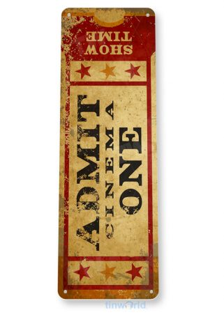 tin sign c780 admit one movie ticket coney island carnival fair food truck game room home theater movie ticket tinworld tinsign_com