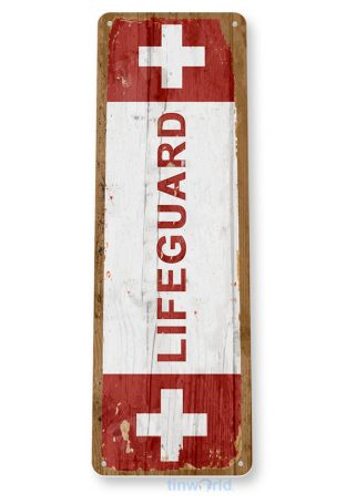 tin sign c857 lifeguard sign lifeguard on duty sign beach stand pool metal tin sign tinworld tinsign_com