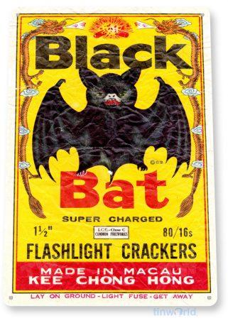 tin sign d049 black bat firecrackers sign tinworld tinsign_com
