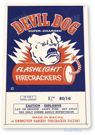 tin sign d054 devil dog firecrackers sign tinworld tinsign_com