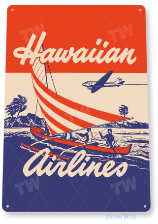 d080 hawaiian airlines retro airline aviation sign tinworld tinsign_com