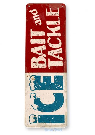 d088 ice bait tackle rustic fishing sign tinworld tinsign_com