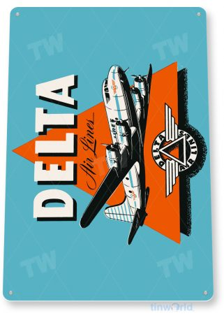d111 delta retro airline aviation sign tinworld tinsign_com