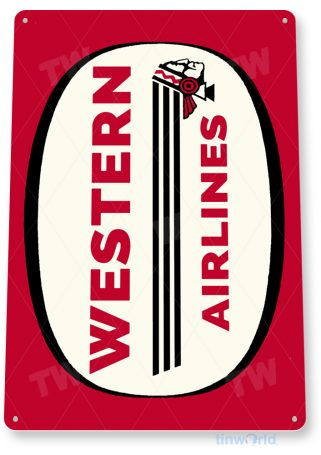 d128 western airlines retro airline aviation sign tinworld tinsign_com