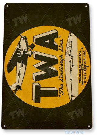 d136 twa retro airline aviation sign tinworld tinsign_com