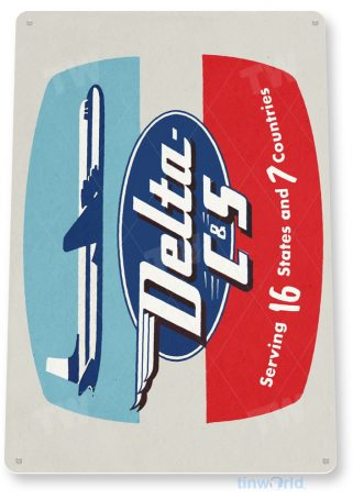 d138 delta c-s retro airline aviation sign tinworld tinsign_com