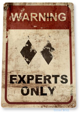 d153 double diamond experts only ski sign 27 tinworld tinsign_com