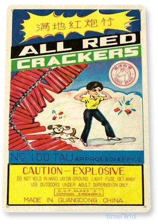 d160 all red crackers fireworks sign tinworld tinsign_com