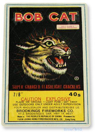 d173 bobcat fireworks sign tinworld tinsign_com