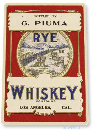 d198 g. piuma rye whiskey sign tinworld tinsign_com