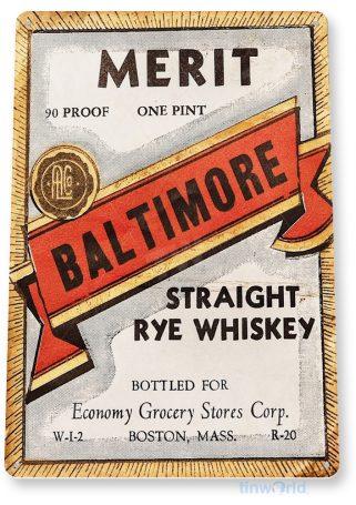 d216 merit rye whiskey sign tinworld tinsign_com