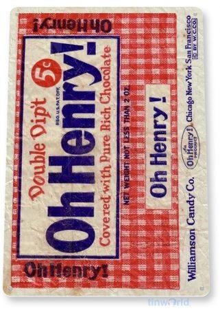 d219 oh henry! chocolate bar sign tinworld tinsign_com