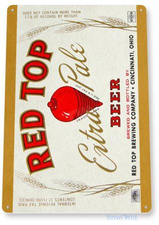 d243 red top beer sign tinworld tinsign_com