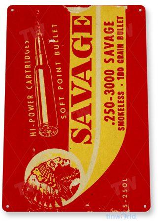 d251 savage cartridges bullet box sign tinworld tinsign_com