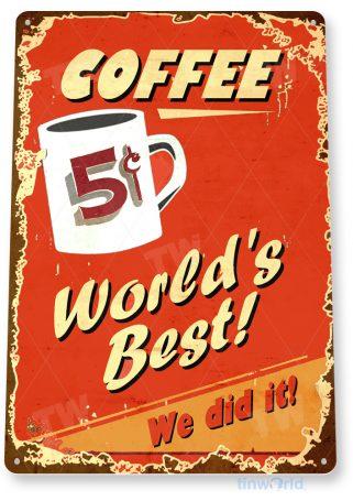 d268 world's best coffee sign tinworld tinsign_com